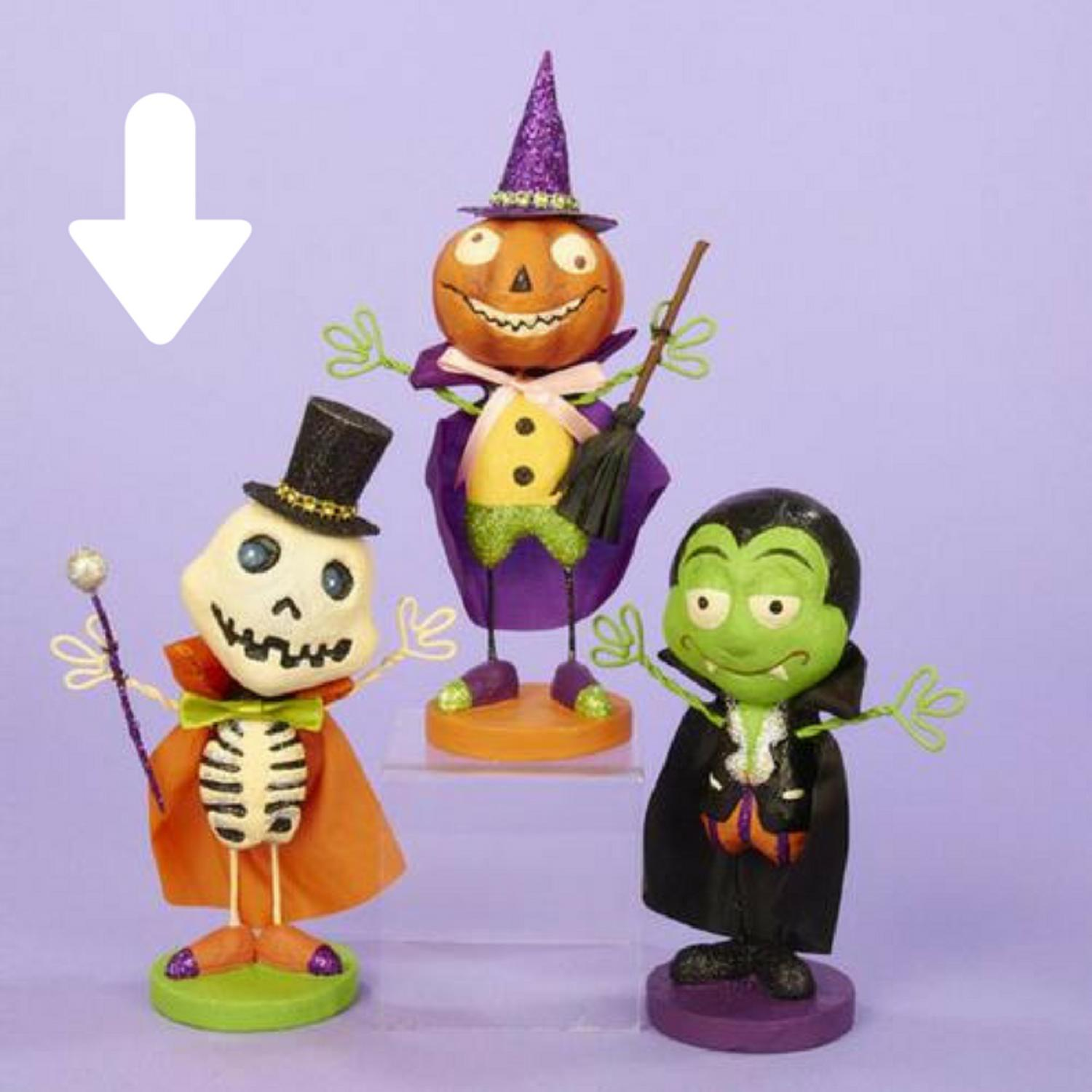 """7.25"""" Skeleton with Top Hat Halloween Table Top Figure Decoration"""