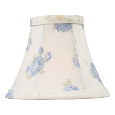 Livex S323 White with Blue Floral Print Silk Bell Clip Chandelier Shade in White/Blue