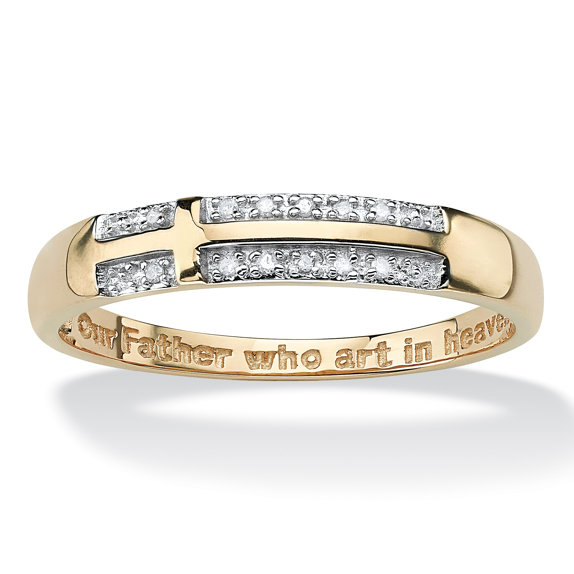"Men's Diamond Accent ""Lord's Prayer"" Cross Wedding Band in 10k Yellow Gold Sizes 10-16"