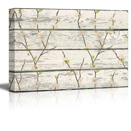 Artworks Home Pattern - Wall26 - Cherry Blossom Pattern Artwork - Rustic Canvas Wall Art Home Decor - 12x18 inches