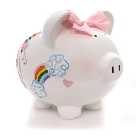 Bank UNICORNS & RAINBOWS PIG Ceramic Hearts Clouds Save Money (Best Way To Save Money In Bank India)