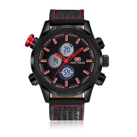 Mens Quartz Watch Red Hands Leather 3 Multifunction Dials Digital Sport for Friends Lovers Best Holiday Gift