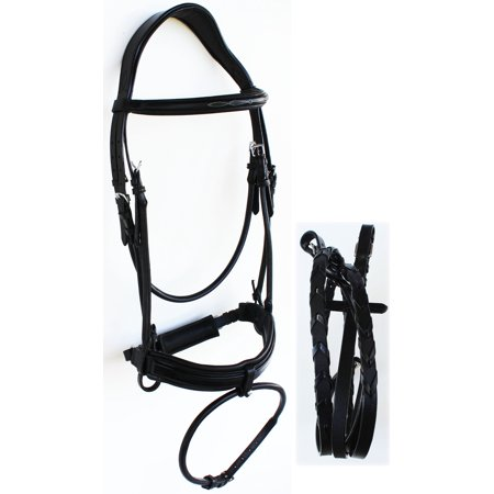 Weatherbeeta English Bridle (Horse English Leather COB Padded  Riding Raised Adjustable Flash Bridle Reins 803S44-C )