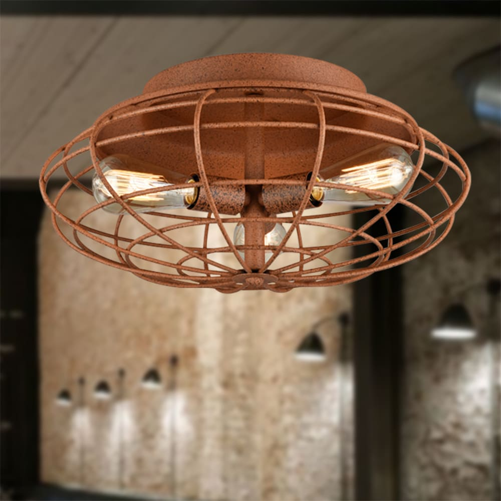 Azranna Speckled Copper Cage Ceiling Lamp with Bulbs by Warehouse of Tiffany