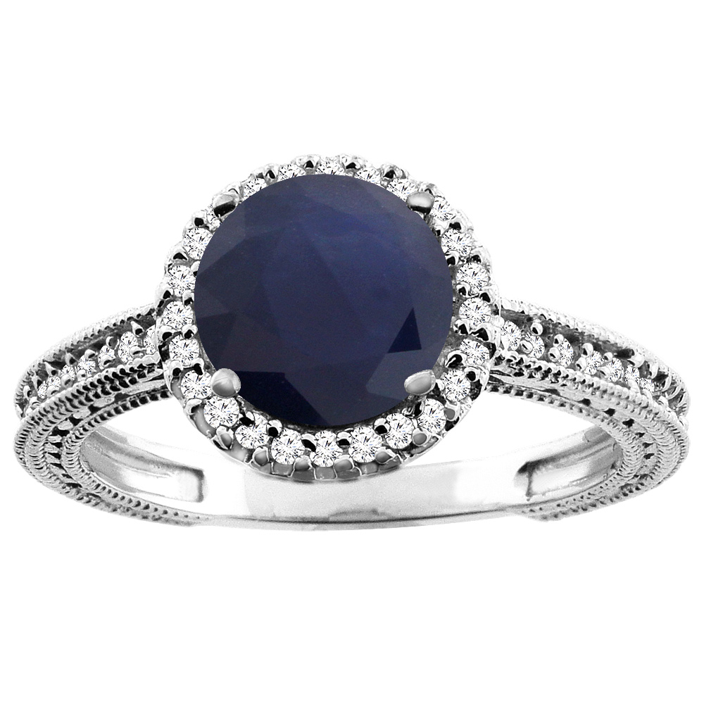 10K White Gold Natural HQ Blue Sapphire Ring Round 7mm Diamond Accent, size 5 by Gabriella Gold