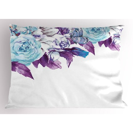 Shabby Chic Wedding - Floral Pillow Sham Vintage Classic Flower Petals Bridal Wedding Romance Shabby Chic Design Art, Decorative Standard Queen Size Printed Pillowcase, 30 X 20 Inches, Pale Blue Purple, by Ambesonne