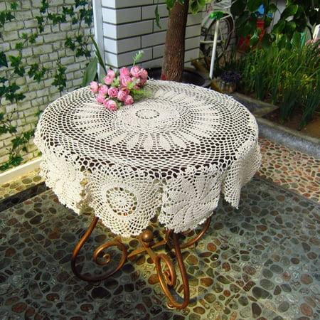 Hand Crochet Lace Floral Doily Placemat Table Cloth Cotton Round 70CM Beige/Ecru ()