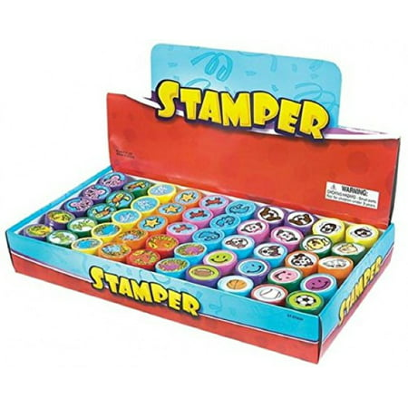 Rubber Stamp Please Sign (NY TOYZ® High Quality 50 Assorted Stamps for Kids- #1 Self Ink Washable Plastic Stamp Set w Rubber Tip (set of)