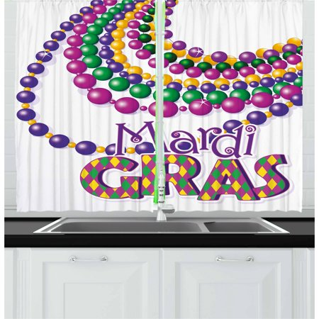 Mardi Gras Curtains 2 Panels Set, Colorful Beads Party Necklaces with Mardi Gras Calligraphy Patterned Design, Window Drapes for Living Room Bedroom, 55W X 39L Inches, Multicolor, by - Mardis Gras Curtain
