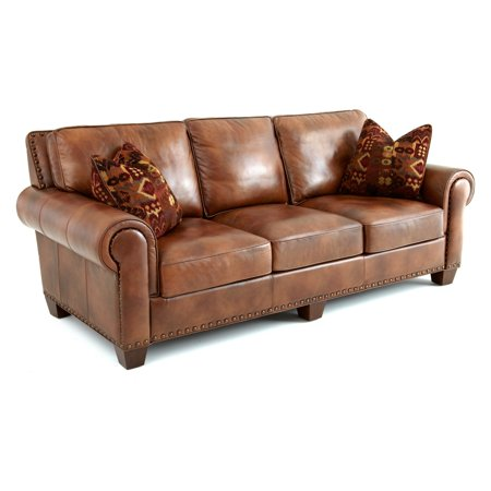 Steve Silver Silverado Leather Sofa With 2 Accent Pillows Caramel Brown