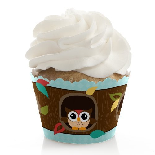 Owl - Baby Shower or Birthday Party Cupcake Wrappers - Set of 12