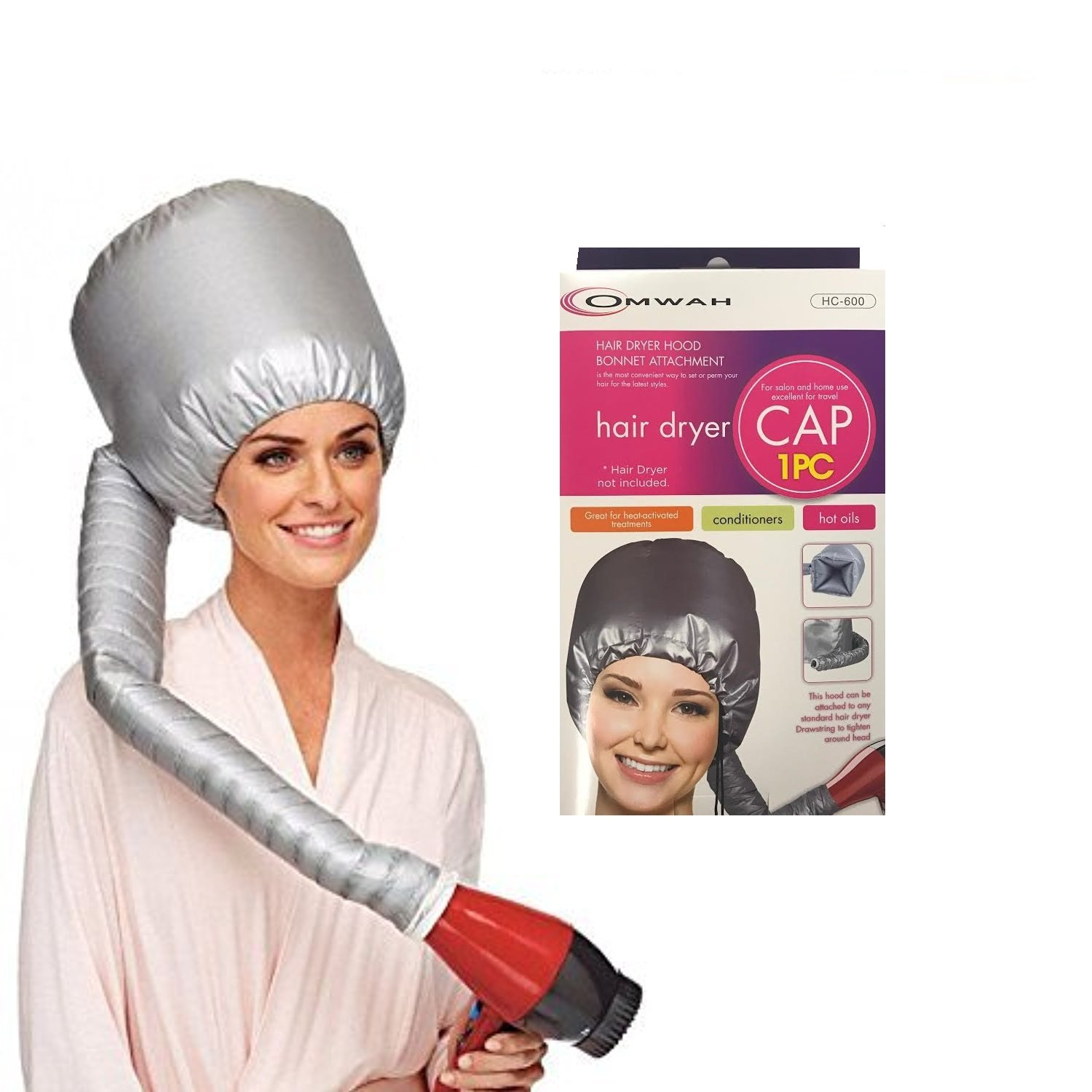 Portable Hair Blow Dryer Cap Treatment Hood Soft Bonnet Attachment
