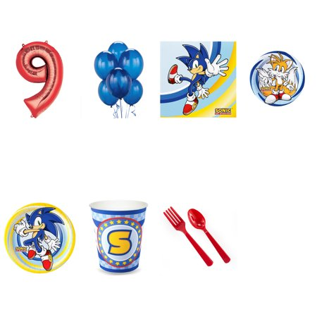 SONIC THE HEDGEHOG PARTY SUPPLIES PARTY PACK FOR 16 WITH RED #9 BALLOON