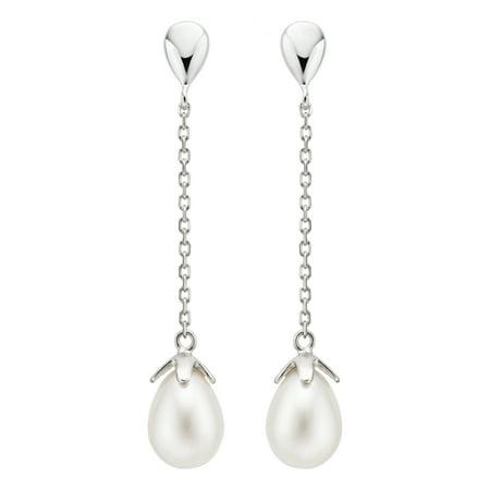 Pearlyta Sterling Silver Freshwater Drop Pearl Dangle Earrings (8-9mm) - image 3 de 3