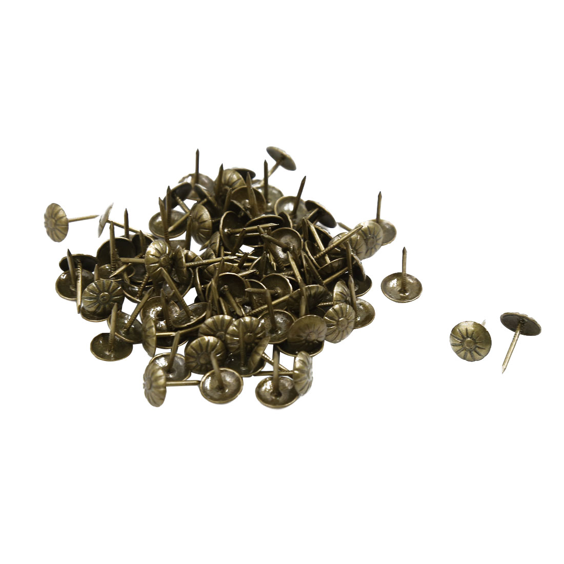 Unique Bargains 100 Pcs Flower Pattern Board Map Push Pins Thumbtacks w Steel Point Bronze Tone