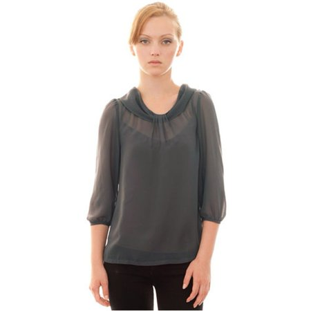 Childrens Designer Boutique (Mia Melon Dark Grey Sheer Bloussant Designer Top Womens)