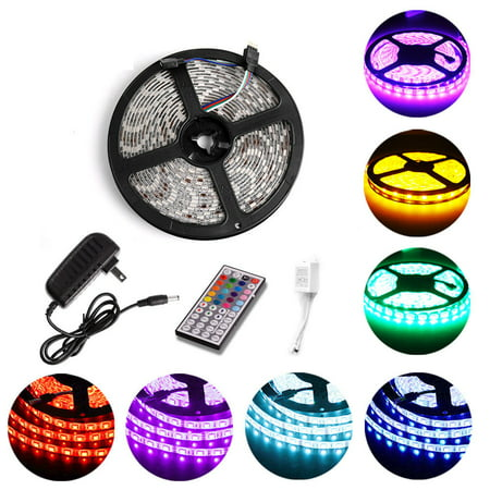 5M Waterproof IP67 Flexible RGB 5050 SMD LED Strip Light Tape 300leds + 24 Key IR Remote for Trucks Boats Kicthen Bedroom Sitting