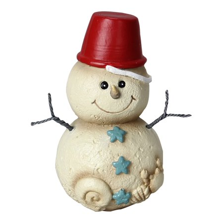 Christmas Snowman Figurine (Coastal Christmas Beach Sand Pail Hat on Baby Snowman 5 Inch Tabletop)