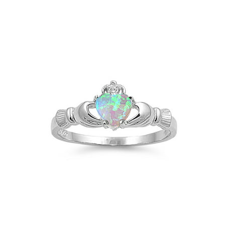 Benediction of the Claddagh Cubic Zirconia Light Blue Simulated Opal Ring Sterling Silver 925 (Claddagh One Light)