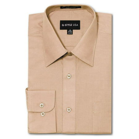 G-Style USA Men's Regular Fit Long Sleeve Solid Color Dress Shirts - BLUSH - Large - 34-35 These exceptional dress shirts by G-Style USA are of premium quality and durability. Dress it up with the classic button up dress shirt. Available in a multitude of colors so that you'll never have to worry about what to wear. Offered at very affordable prices, these shirts are made for people who want to look good for a casual or formal occasion! The shirts are machine washable, easy Iron, and breathable/stretchable.Please kindly note that the clothing tags for G-Style USA products may be labeled as Omega. Omega is the manufacturer of G-Style USA.