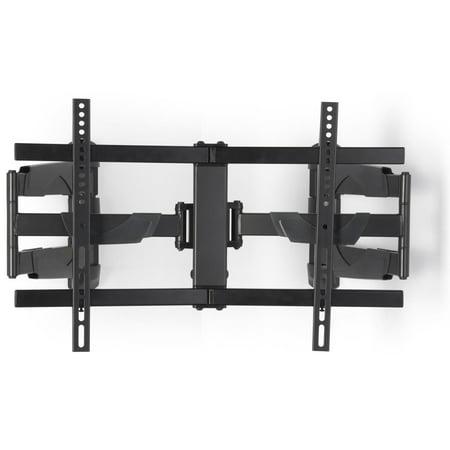 Displays2go Curved TV Wall Mount for Corners, Steel, Aluminum & Plastic Construction – Black - Black Construction Plastic