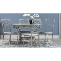 Home Source Donna Silver 5 Piece Metal Dining Set