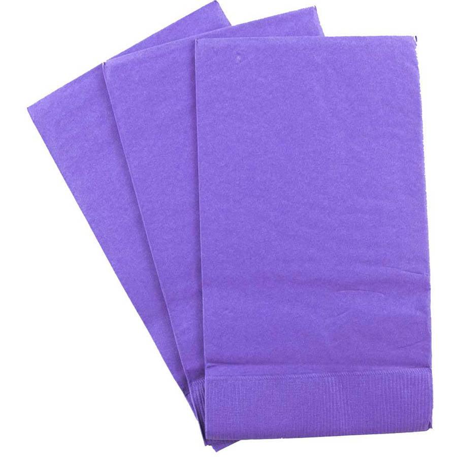 """JAM Paper Rectangular Paper Party Napkins/Disposable Guest Towels, 8"""" x 4-1/2"""", Purple, 16pk"""