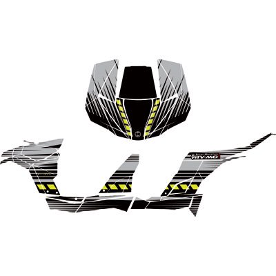 Attack Graphics BRUTE Complete UTV Graphics Kit Grey/Black/Magna Green For  Can-Am