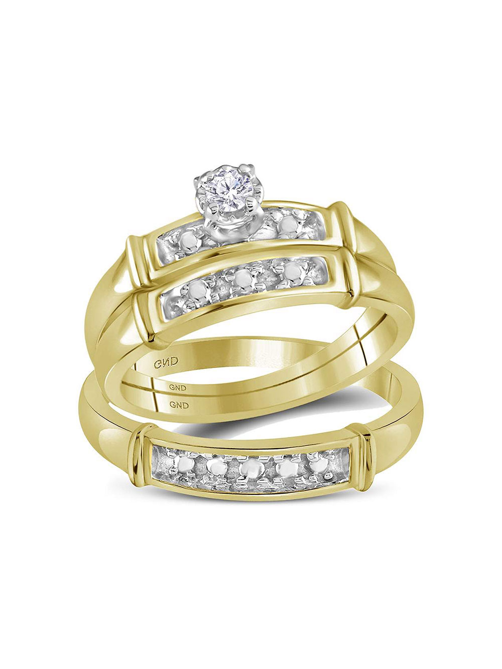 Diamond2deal 14kt Yellow Gold His Hers Round Diamond Solitaire