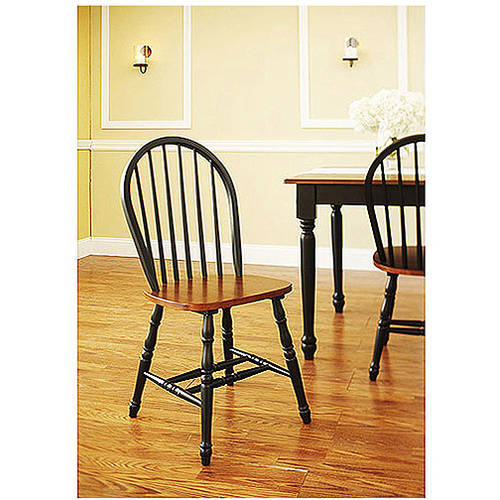 Better Homes and Gardens Autumn Lane Windsor Chairs, Set of 2, Black and Oak