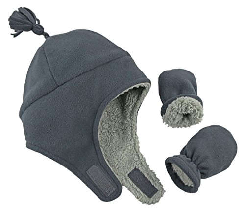 NIce Caps Little Boys and Baby Sherpa Lined Micro Fleece Pilot Hat ... 6c0afd539c25