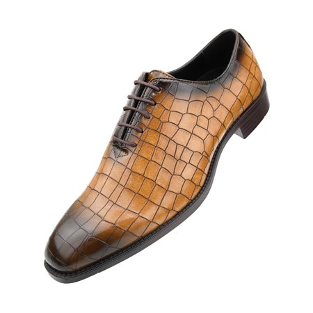 Bolano Mens Exotic Faux EEL and Croco Skin Oxford Dress Shoes with Black Burnished Toe Available in Rust-Cognac, Grey, Red, Purple