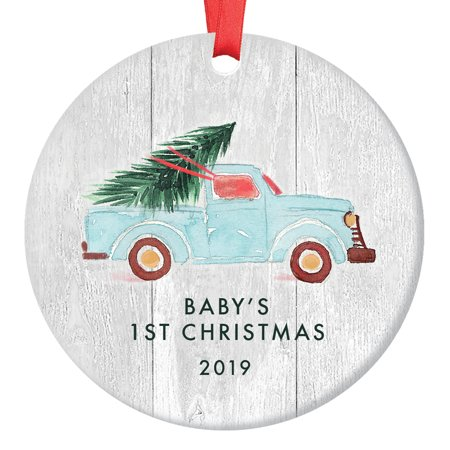 Babys First Christmas Ornament 2019, Newborn Boy or Girl Baby's 1st Gift Ideas New Baby, Blue Pickup Truck Xmas Tree Ceramic Farmhouse 3