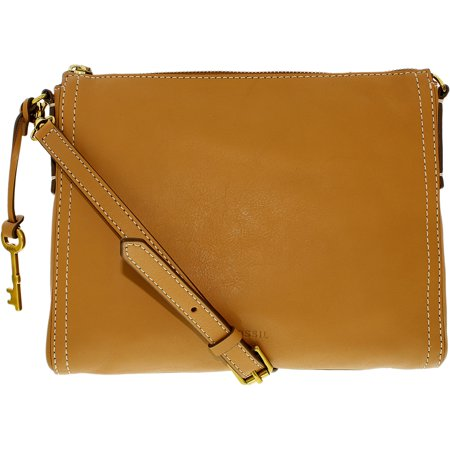 Fossil Women's Emma East West Leather Crossbody Leather Cross Body Bag Baguette - Tan (Medium Baguette Bag)