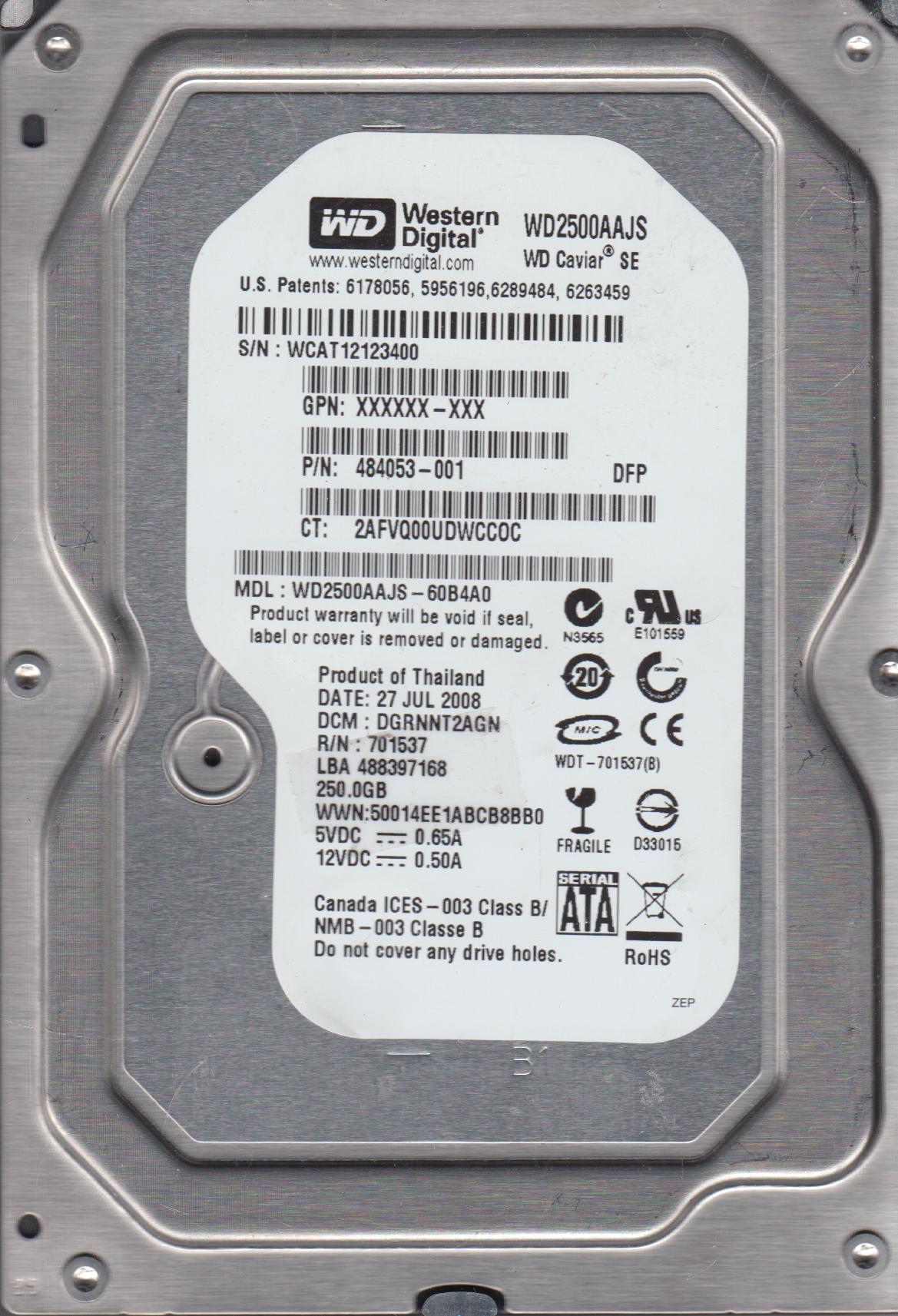 WD2500AAJS-60B4A0, DCM DGRNNT2AGN, Western Digital 250GB SATA 3.5 Hard Drive by Western Digital