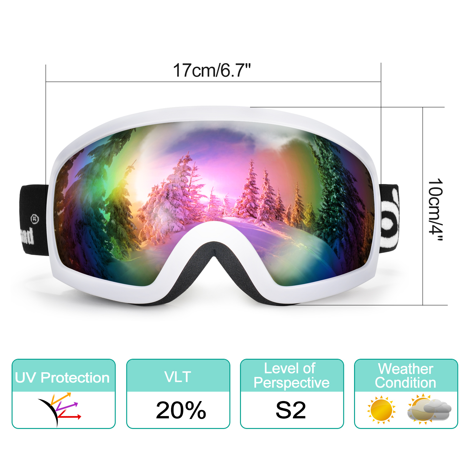 Odoland S2 General OTG Ski Goggles Double Anti-Fog Lenses w  UV400 Protection for Adult Snowboarding Skating Sledding by