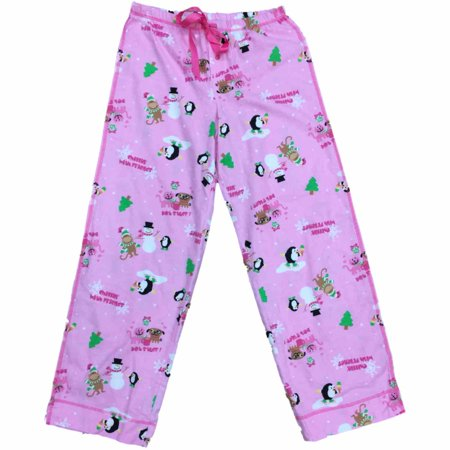 womens pink cat dog penguin sleep pants hot stuff christmas pajama bottoms size