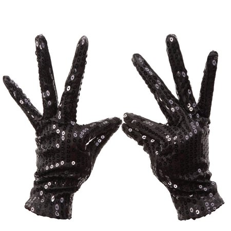 Shimmer Sequin Costume Gloves Halloween Masquerade Party Gloves Supplies Decor Accessory 1 Pair black Children](Costumes On Sale Clearance)