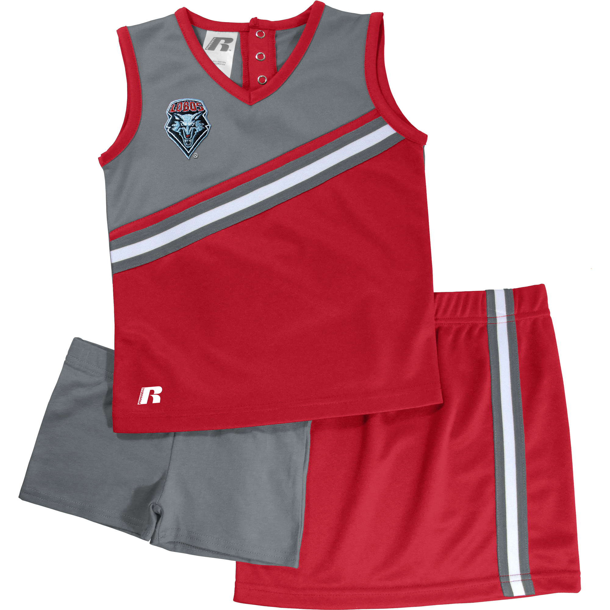 Russell NCAA New Mexico Lobos, Toddler Girls 3 pc Cheer Set
