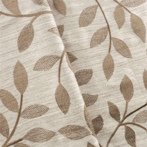 Beige/Brown Vine Embroidered Drapery Fabric, Fabric By the Yard