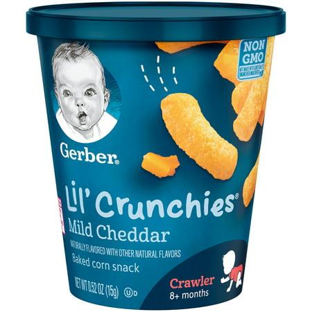 Gerber Lil' Crunchies Baked Corn Snacks Snack Cup, Mild Cheddar, 0.52 oz. (Pack of
