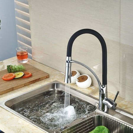 Kitchen Vessel Sink Faucet Black Rubber Pull Down Swivel Spout Mixer Tap