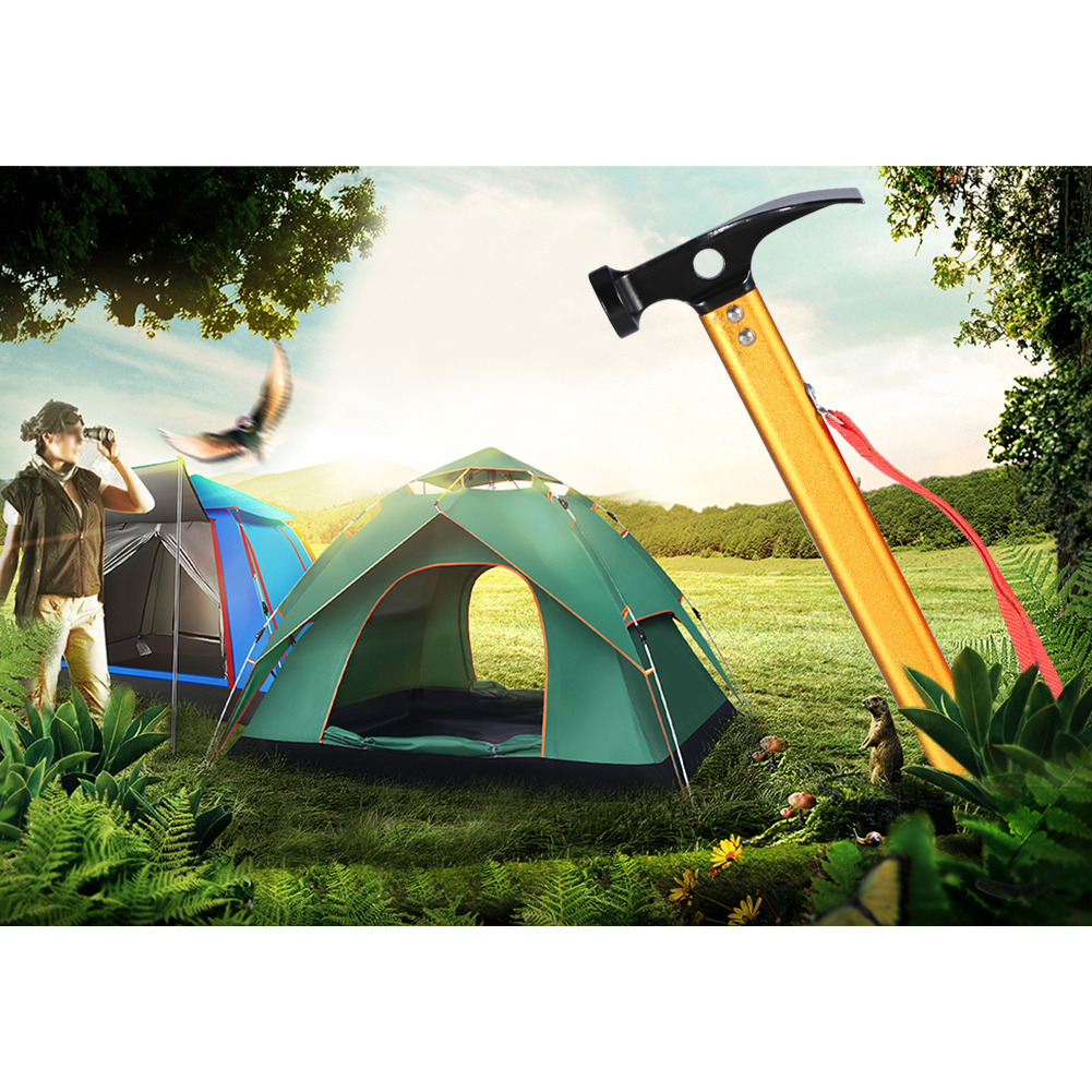 3 Colors Portable Aluminium Alloy Handle Outdoor Camping Hammer Tent Peg Stake Puller, Tent Hammer,Peg Puller Extractor