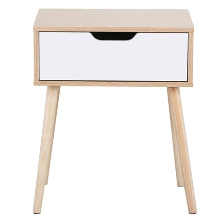 white sofa cover with wooden table | White/Brown Walnut Sofa Side End Table with Storage Drawer ...
