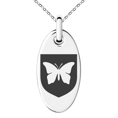 Stainless Steel Butterfly Free Spirit Coat of Arms Shield Engraved Small Oval Charm Pendant Necklace Butterflies Are Free Necklace