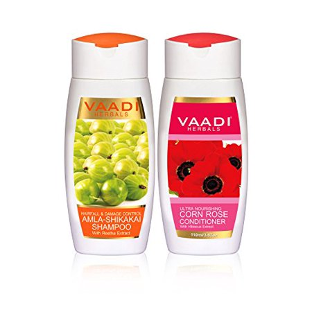 Vaadi Herbals Amla Shikakai Hair fall and Damage Control Shampoo, 110ml with Corn Rose Conditioner,