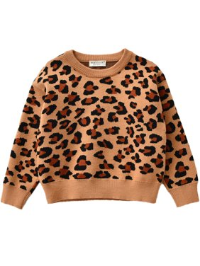 Bebiullo Toddler Baby Girl Boys Leopard Sweatshirt Casual Pullover Blouse Sweater