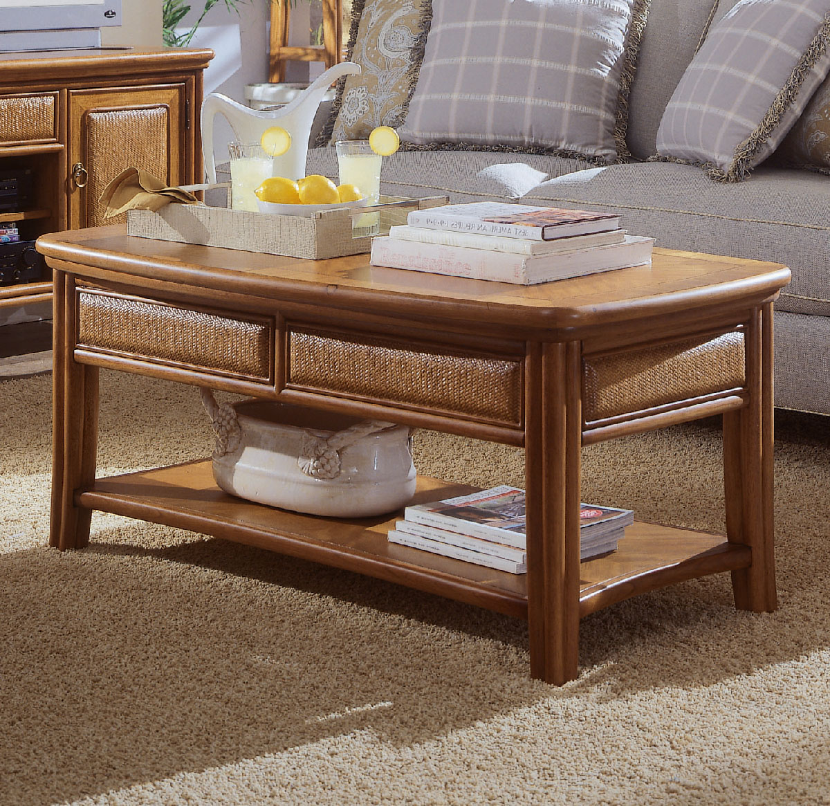American Drew Antigua Cocktail Table in Toasted Almond Walmartcom