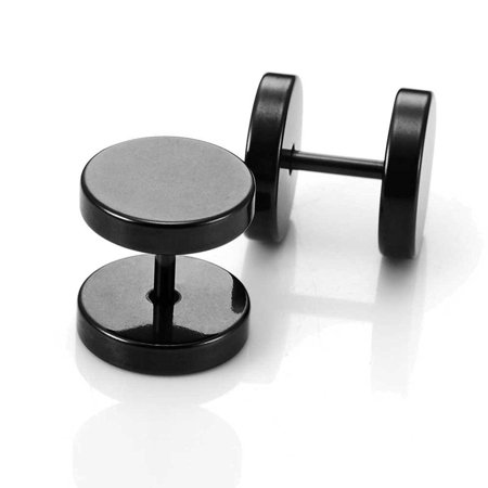 Designer Wood Earrings - Round Barbell Dumbbell Stainless Steel Mens Designer Jewelry Bolt Stud Earrings (Black 12mm)