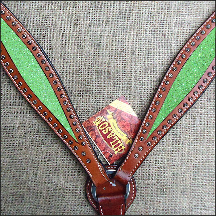 HILASON WESTERN AMERICAN LEATHER HORSE BREAST COLLAR MAHOGANY LIME GREEN INLAY